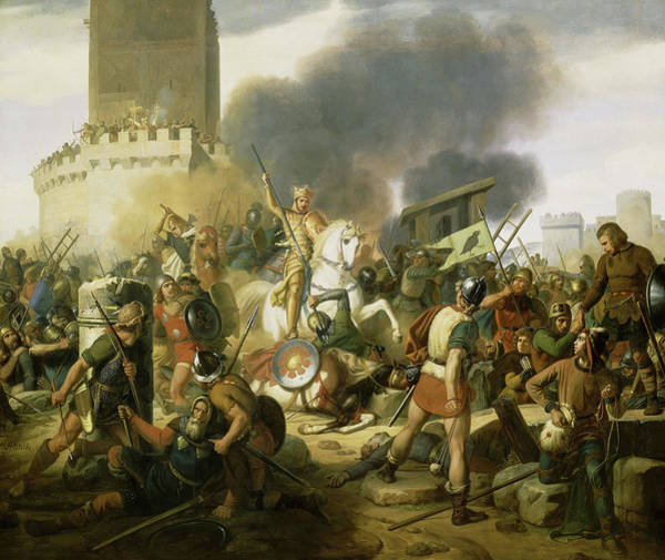 Wall Art - Painting - Count Eudes Defending Paris Against Normans In 885 by Jean-Victor Schnetz