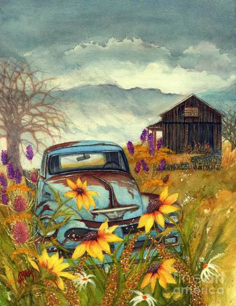 Old Chevy Truck Painting - Country Blues - Dusty Blue Old Chevy Pick Up Truck by Janine Riley