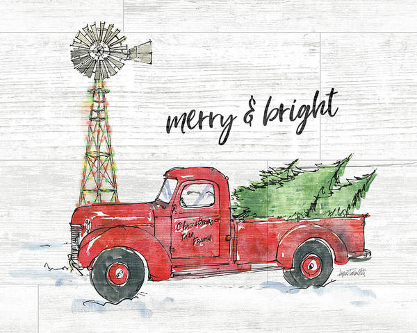 Wall Art - Painting - Country Christmas Iv Merry And Bright Shiplap Crop by Anne Tavoletti