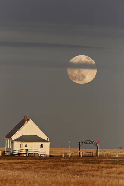 Wall Art - Photograph - Country Church Full Moon by Mark Duffy