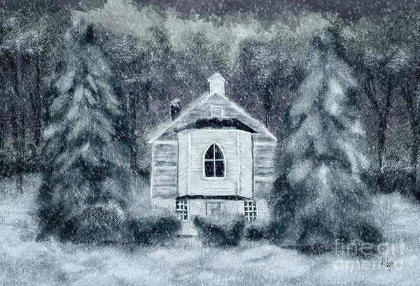 Digital Art - Country Church On A Snowy Night by Lois Bryan