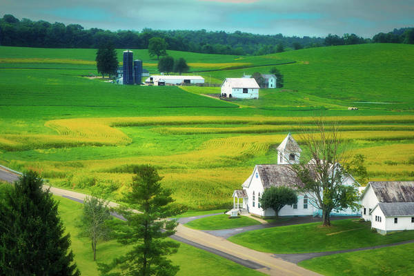 Silo Photograph - Country Church by Tom Mc Nemar