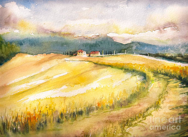Wall Art - Digital Art - Country Landscape With Typical Tuscan by Deepgreen