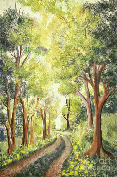 Digital Art - Country Lane In Spring by Lois Bryan