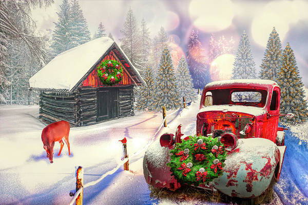 Rusty Truck Digital Art - Country Mountain Christmas by Debra and Dave Vanderlaan