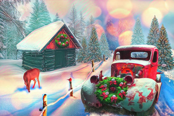 Photograph - Country Mountain Christmas Painting by Debra and Dave Vanderlaan