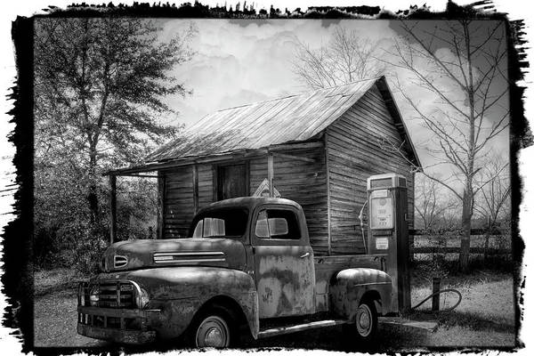 Photograph - Country Olden Days Black And White Bordered by Debra and Dave Vanderlaan