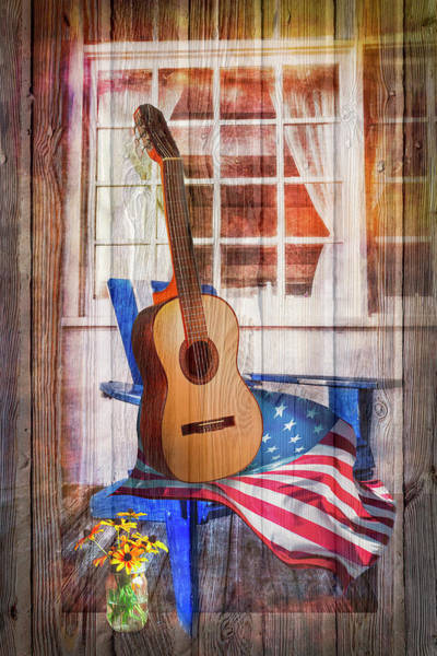 Photograph - Country Porch In Wood Texture by Debra and Dave Vanderlaan