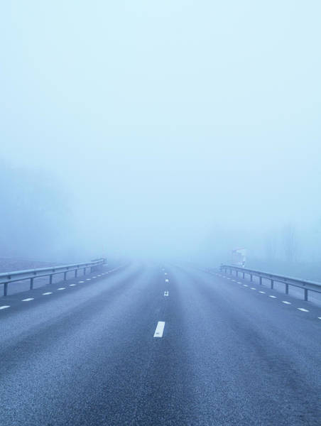 Skane Photograph - Country Road Covered With Fog by Johner Images