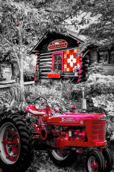 Photograph - Country Town Charm In Red, Black And White by Debra and Dave Vanderlaan