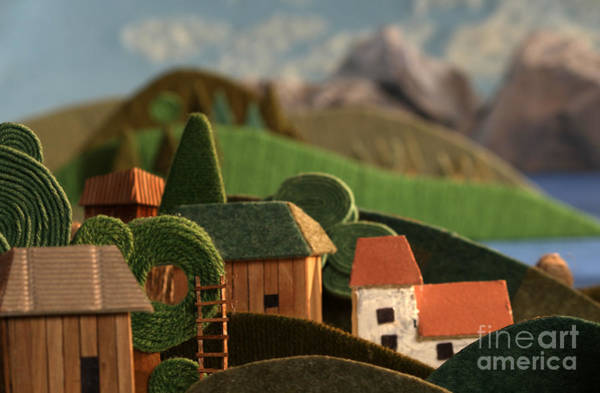 Stylized Wall Art - Photograph - Countryside Houses With Mountains In by Kreus
