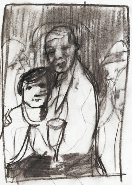 Drawing - Couple At A Bar by Artist Dot