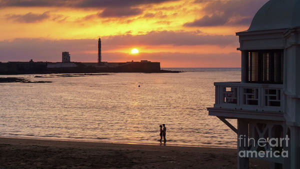 Photograph - Couple At Sunset In La Caleta Cadiz Spain by Pablo Avanzini