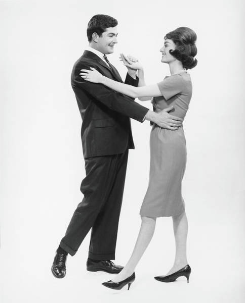 Heterosexual Couple Photograph - Couple Dancing In Studio, B&w by George Marks