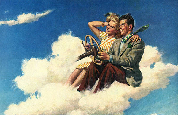 Couple Driving In Clouds Art Print