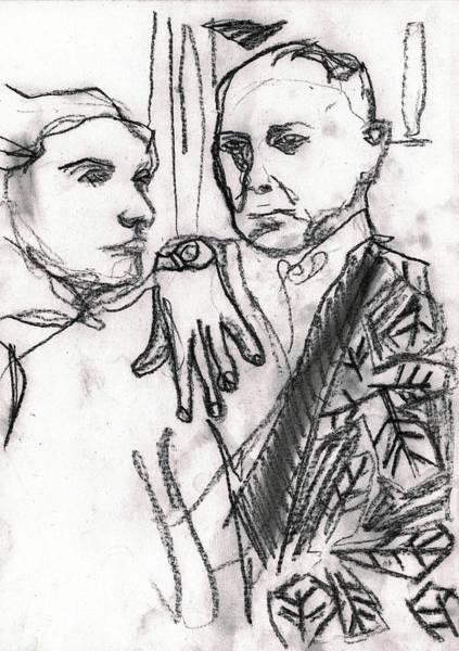 Drawing - Couple Enjoying An Evening Out by Artist Dot