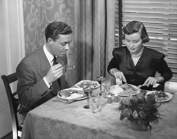 Heterosexual Couple Photograph - Couple Having Dinner by George Marks