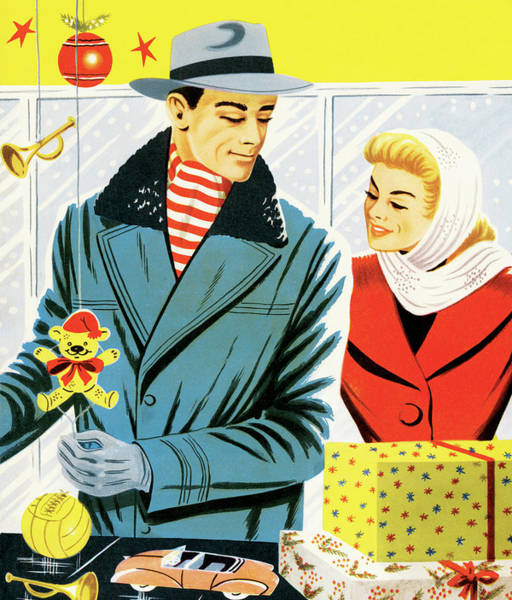 Heterosexual Couple Digital Art - Couple Holiday Shopping by Csa Images