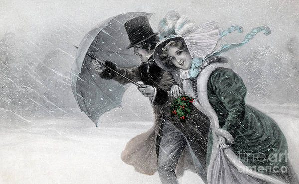Painting - Couple In A Snow Storm With Umbrella by Raimund Wichera