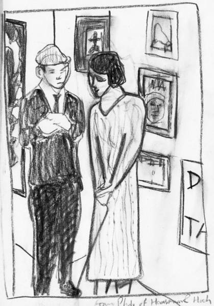Drawing - Couple In An Art Gallery by Artist Dot