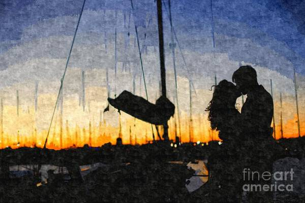 Painting - Couple In Love Celebrating Hugging Each Other, Love In A Harbor With Boats In The Background In Back by Joaquin Corbalan