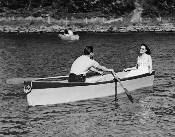 Wall Art - Photograph - Couple In Rowboat by George Marks