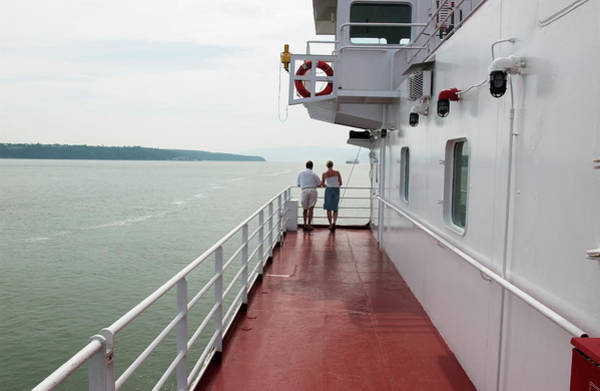 Boat Deck Photograph - Couple Looking Over Ferry Deck, St by Brian Summers