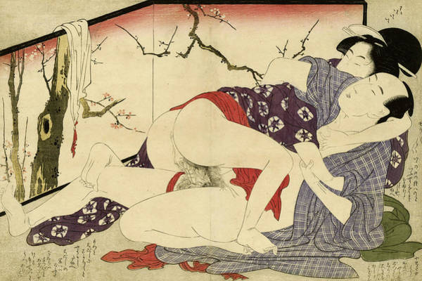 Wall Art - Painting - Couple Making Love Near A Room Divider, 1799 by Kitagawa Utamaro