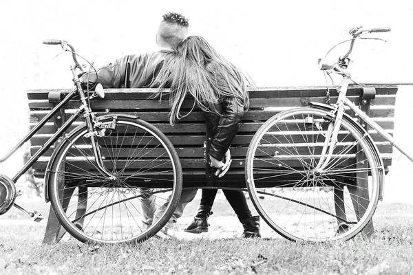 Two Friends Wall Art - Photograph - Couple On A Bench - Two Lovers Sitting by Oneinchpunch