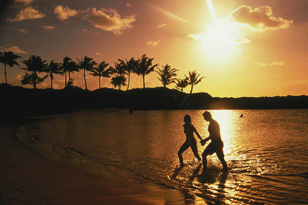 Heterosexual Couple Photograph - Couple On Beach At Sunset by Linda Ching