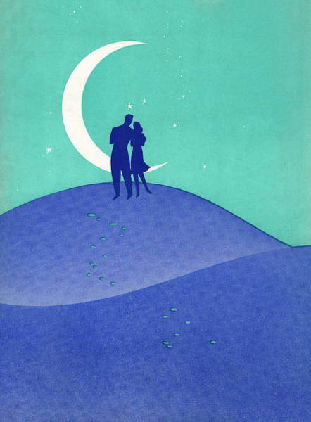 Heterosexual Couple Digital Art - Couple On Hilltop With Moon by Graphicaartis