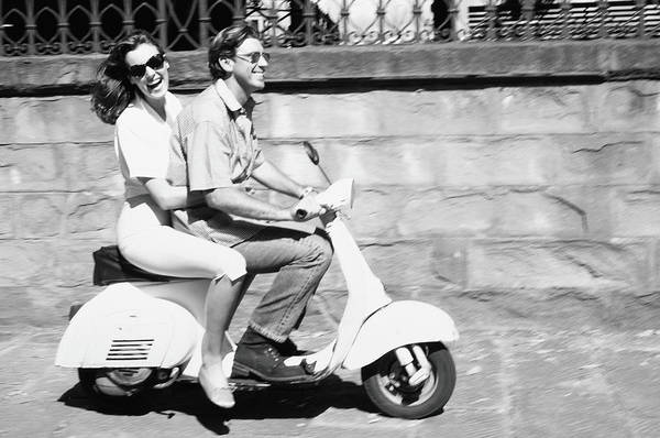 Heterosexual Couple Photograph - Couple On Motor Scooter B&w by Paul Viant