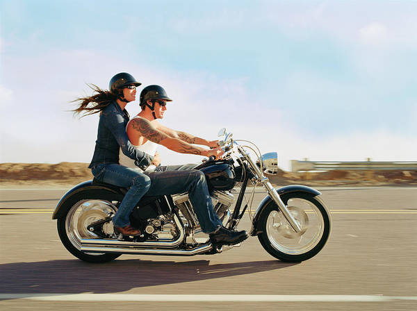 Heterosexual Couple Photograph - Couple On Old Fashioned Motorbike, Side by Jim Jordan Photography