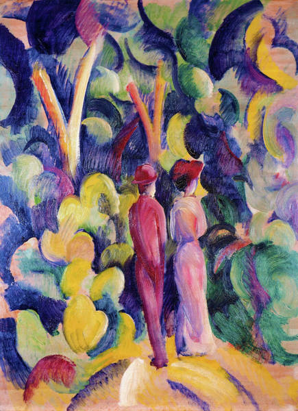 Wall Art - Painting - Couple On The Forest Track - Digital Remastered Edition by August Macke