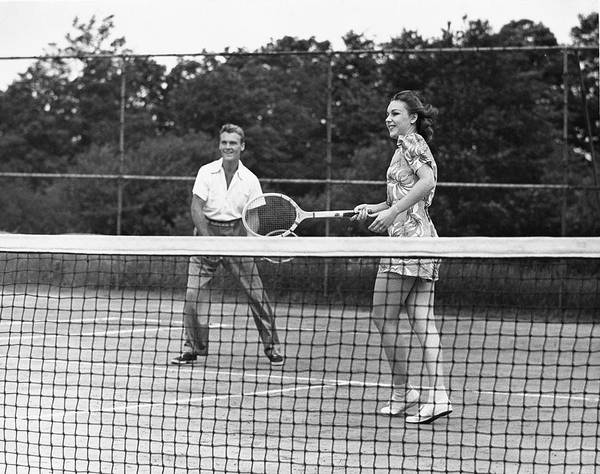 Wall Art - Photograph - Couple Playing Tennis by George Marks