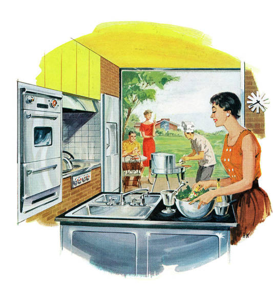 Husband Photograph - Couple Preparing Food by Graphicaartis