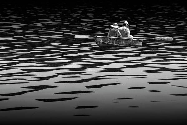 Wall Art - Photograph - Couple Rowing On Stoney Lake At Sunrise In Black And White by Randall Nyhof