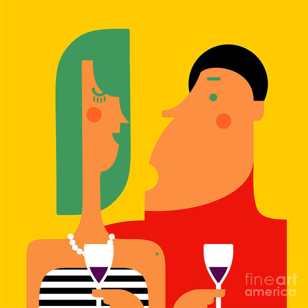 Wall Art - Digital Art - Couple Talking And Drinking Wine At A by Valovalo