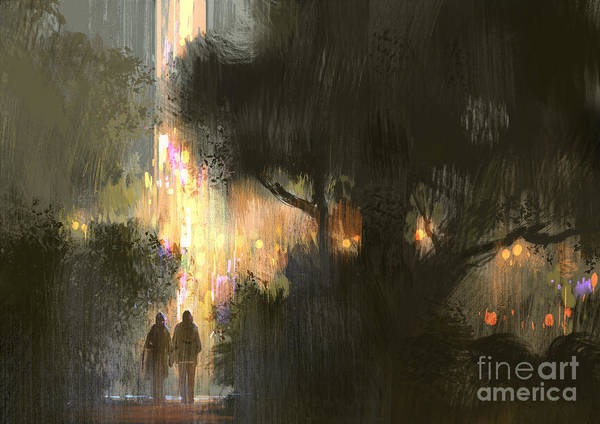 Rain Forest Wall Art - Digital Art - Couple Walk In The City Park At by Tithi Luadthong