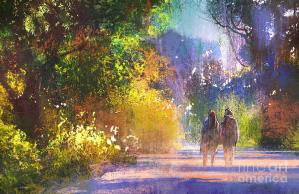Wall Art - Digital Art - Couple Walking In Beautiful by Tithi Luadthong