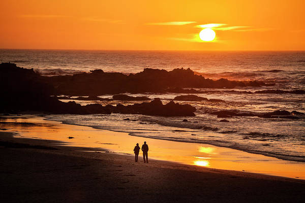 Surf City Usa Photograph - Couple Watch The Sunset At Carmel Beach by Pgiam