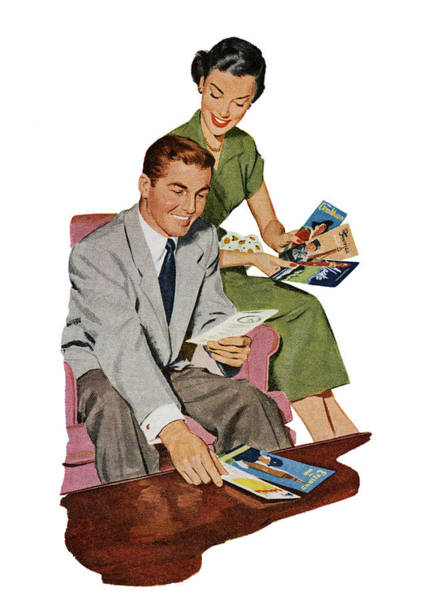 Heterosexual Couple Digital Art - Couple With Travel Brochures by Graphicaartis