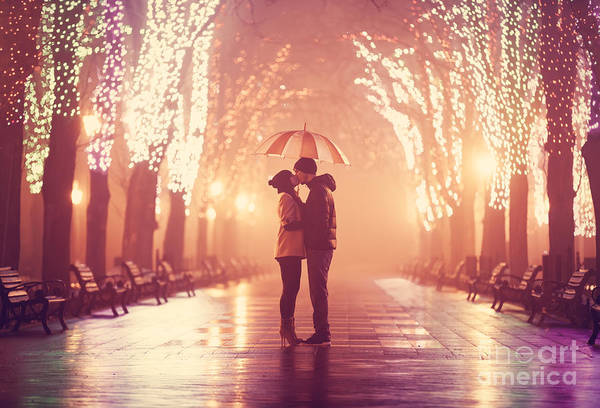 Wall Art - Photograph - Couple With Umbrella Kissing At Night by Masson