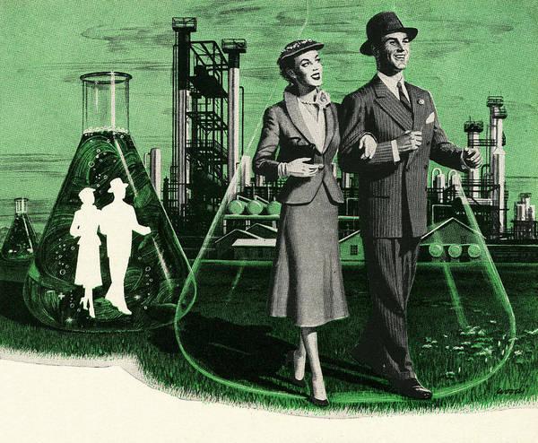 Heterosexual Couple Digital Art - Couples In Chemistry Beakers by Graphicaartis
