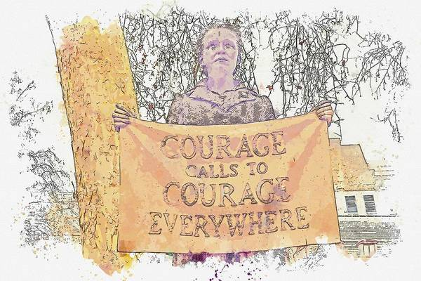 Wall Art - Painting - Courage Calls To Courage Everywhere - Millicent Fawcett Feminist Suffragette -  Watercolor By Ahmet  by Ahmet Asar