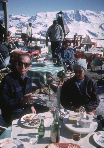 Glass Photograph - Courchevel Cafe by Slim Aarons