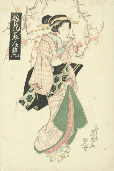 Relief - Courtesan Under Plum Blossom by Keisai Eisen