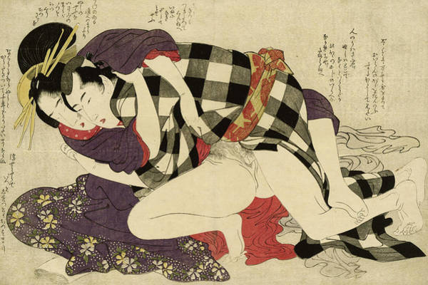 Having Sex Painting - Courtesan With A Client, 1799 by Kitagawa Utamaro