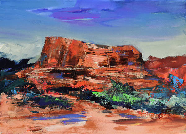Sedona Painting - Courthouse Butte Rock - Sedona by Elise Palmigiani