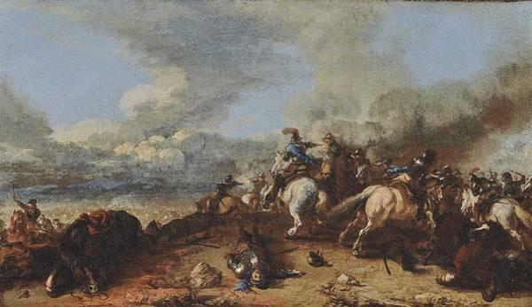 Wall Art - Painting - Courtois Jacques  Le Bourguignon A Cavalry Battle by Celestial Images